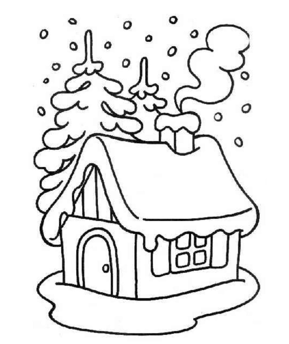 Dibujos De Navidad Muy Bonitos.Casas De Navidad Para Colorear Decoradas En Imagenes