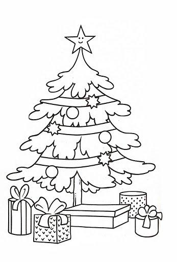 Dibujos para colorear de arboles de navidad faciles